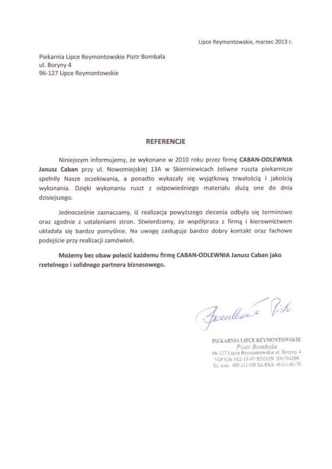 Piekarnia Lipce Reymontowskie Piotr Bombała