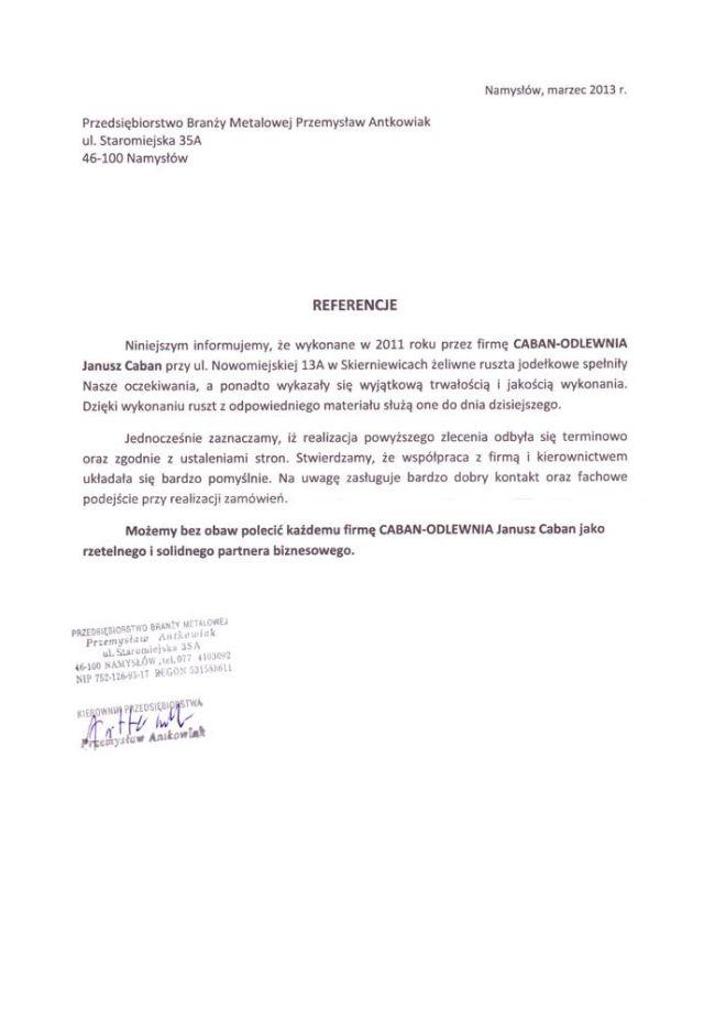 Przedsiębiorstwo Branży Metalowej Przemysław Antkowiak