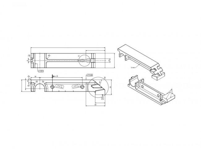 Dokumentacja płaska pozwalająca wygenerować model 3D elementu
