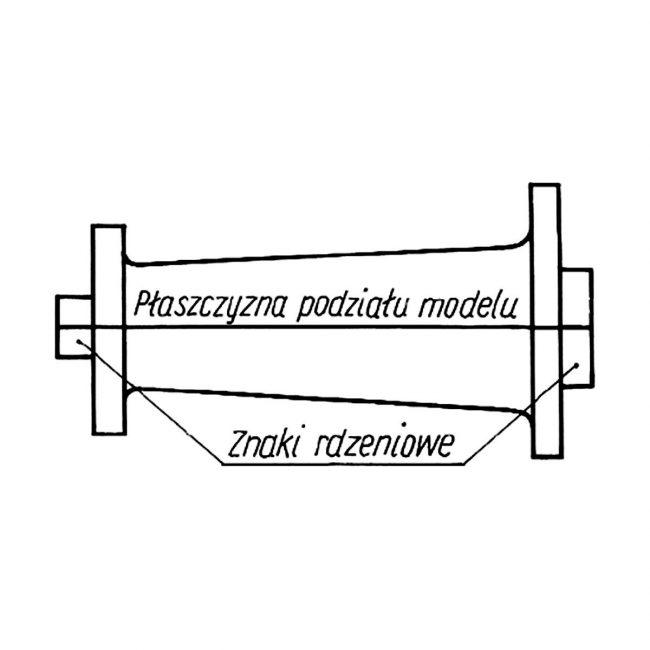 Dzielony (dwuczęściowy) model odlewniczy ze znakami rdzeniowymi