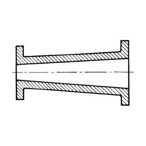 Odlew rury z kołnierzem (przekrój) wykonany w jednorazowej formie odlewniczej z wykorzystaniem dzielonego modelu i rdzenia