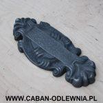 Ozdobny szyld do kinkietu wykonany z żeliwa szarego